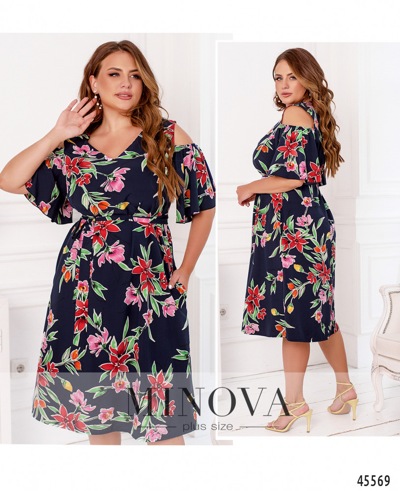 Платье №2282-яркие-цветы яркие-цветы/50-52