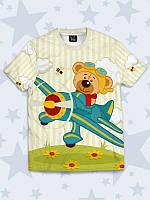 Красочная детская футболка Мишка в самолёте, фото 1