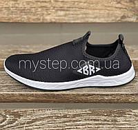 Кроссовки мокасины мужские черные из текстиля Bromen, фото 1