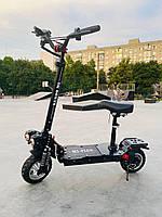 Потужний електричний самокат з сидінням Kugoo M5 Plus Чорний | Стоїть двоколісний електричний самокат