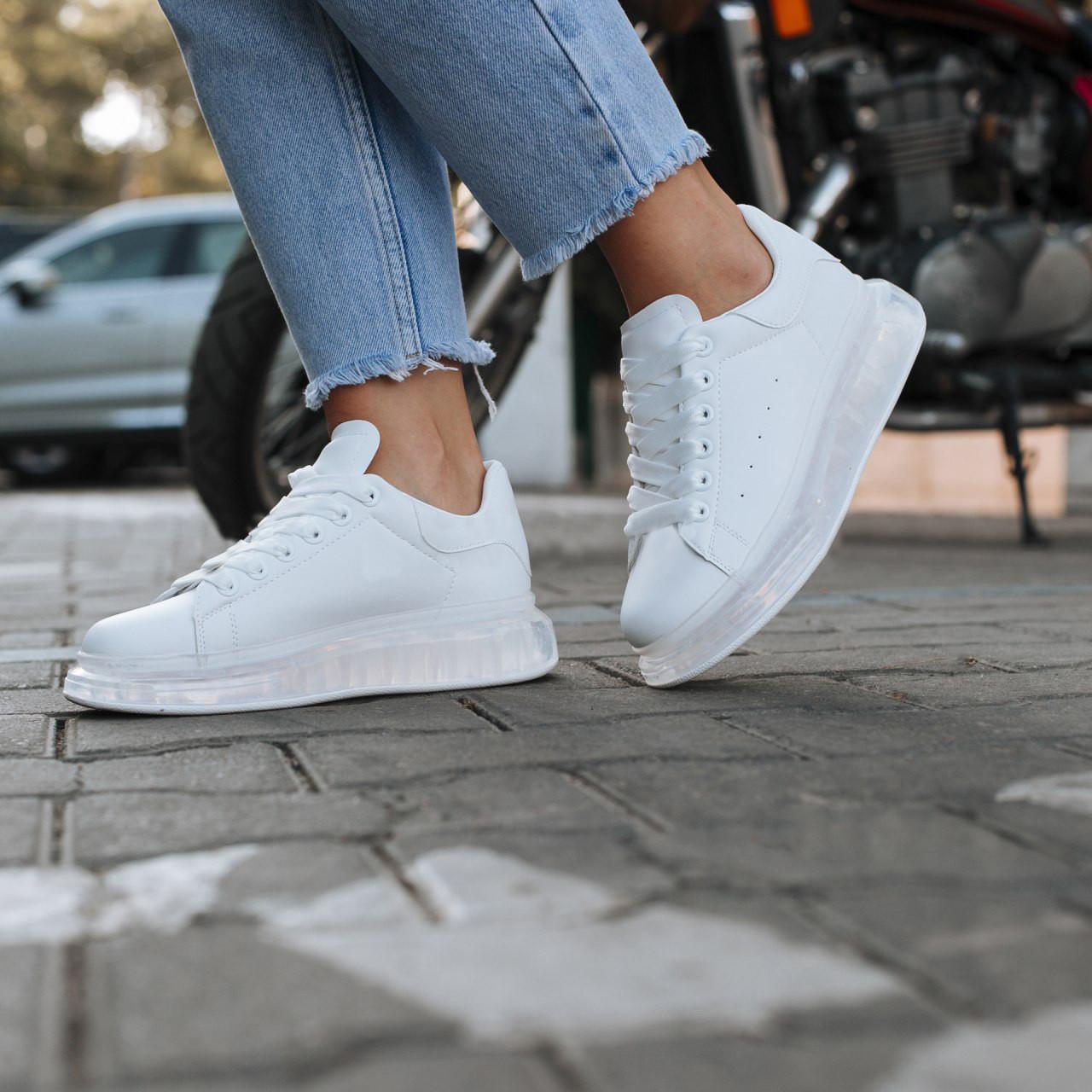 Білі кросівки alexander mcqueen деми демісезон еко шкіра шкіряні