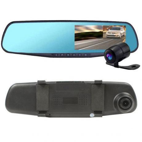 Видеорегистратор зеркало с камерой заднего вида 2 камеры DVR Full HD (экран справа от водителя)