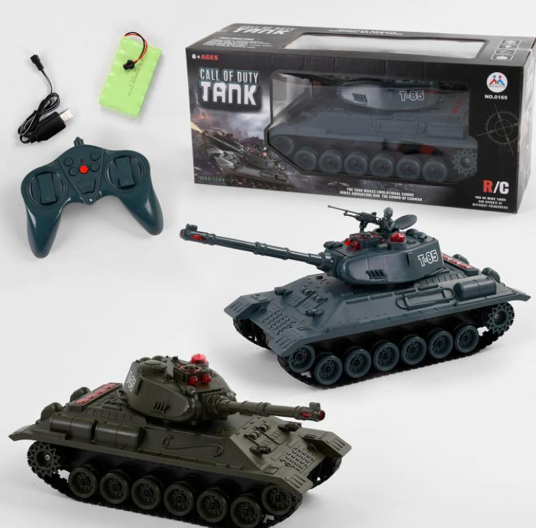 Боевой Танк с подвижной пушкой 0165 на аккумуляторе 7.2V / свет звук / на радиоуправлении / 2 вида