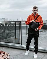 Спортивний костюм чоловічий Найк, Nike чорний - помаранчевий. Барсетка в Подарунок, фото 1