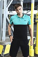 Футболка Поло Чоловіча чорна-бірюзова в стилі Nike (Найк), фото 1