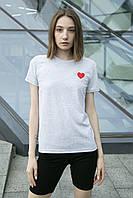 Футболка Жіноча бавовна сіра з принтом серце, фото 1