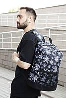 Рюкзак листики Городской для ноутбука черный-белый гербарий, фото 1