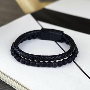 Стильный браслет 2B Rich Bracelet Черный браслет на руку с застёжкой
