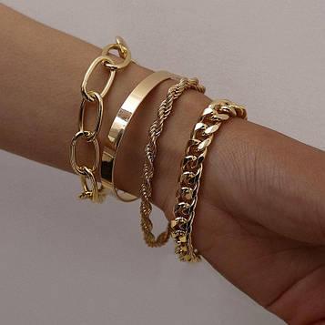 Набір жіночих золотистих браслетів на руку код 2000
