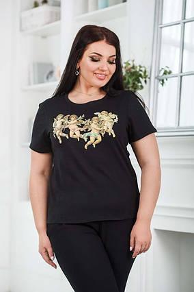 """Женская стильная футболка до больших размеров 0612 """"Ангелочки"""" в расцветках"""