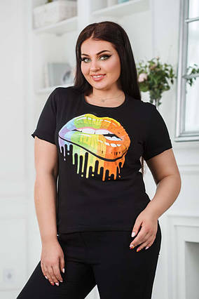 """Женская стильная футболка до больших размеров 0610 """"Губки Акварель"""" в расцветках"""