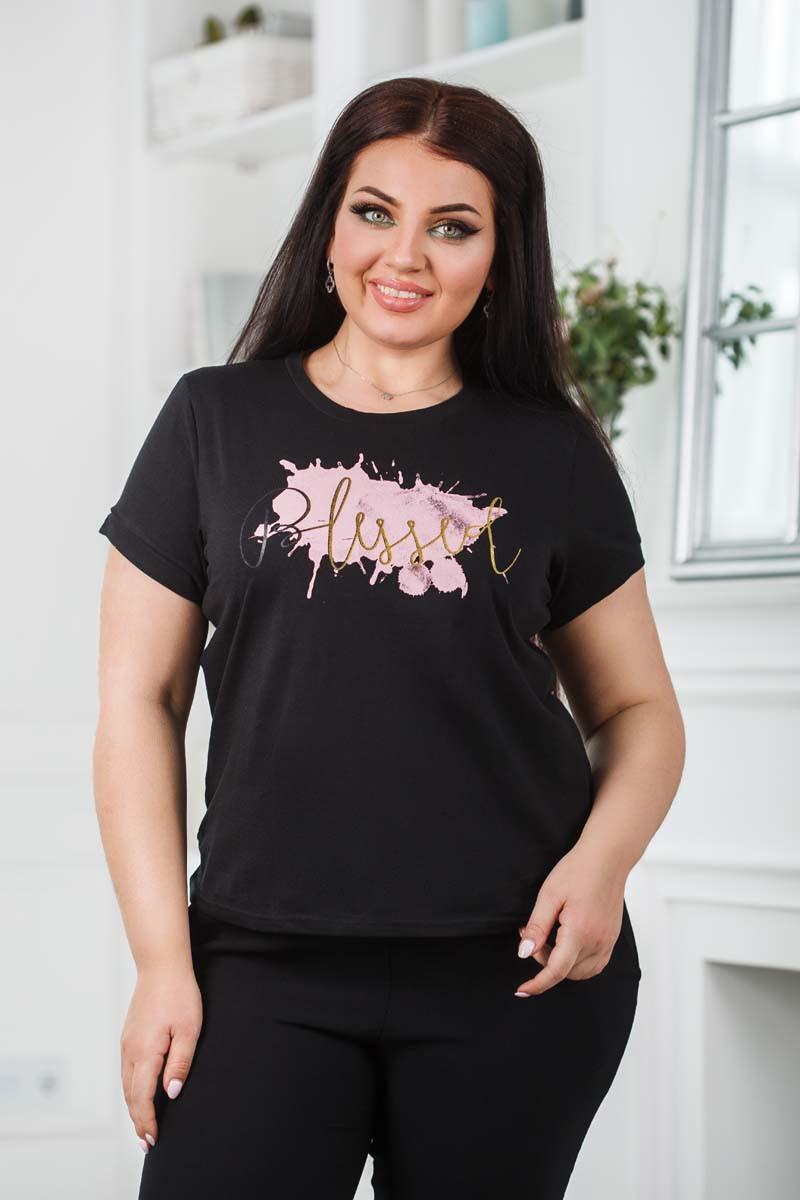 """Женская стильная футболка до больших размеров 0613 """"Клякса"""" в расцветках"""
