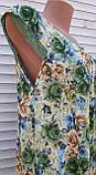 Річна нічна сорочка на бретельках Бамбукова нічна сорочка Нічна сорочка з натуральної тканини зелена 4XL, фото 2
