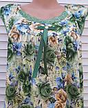 Річна нічна сорочка на бретельках Бамбукова нічна сорочка Нічна сорочка з натуральної тканини зелена 4XL, фото 10