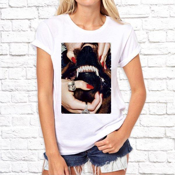 Женская футболка с принтом Пасть собаки, оскал, Swag SKL75-293476