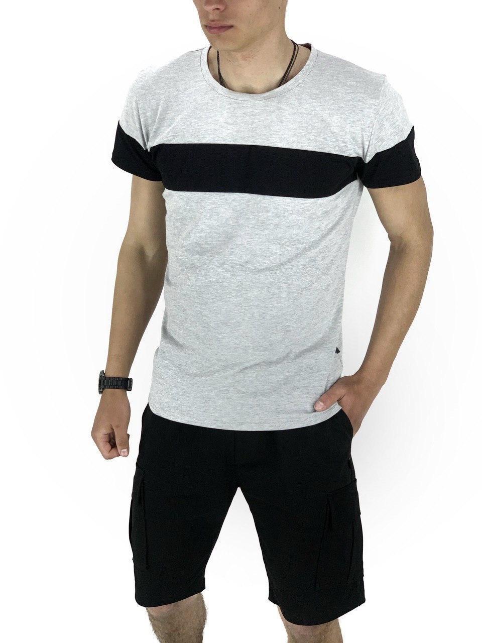Комплект Футболка Color Stripe серая - черная и Шорты Miami Черные SKL59-259615