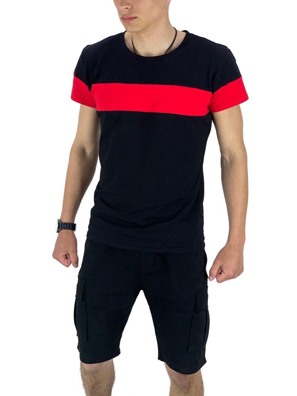 Комплект Футболка Color Stripe чорна - червона і Шорти Miami Чорні SKL59-259616