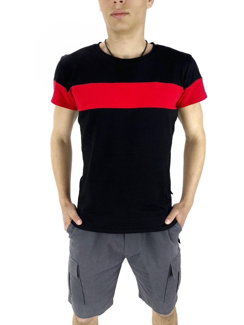 Комплект Футболка Color Stripe черная - красная и Шорты Miami серые SKL59-259617