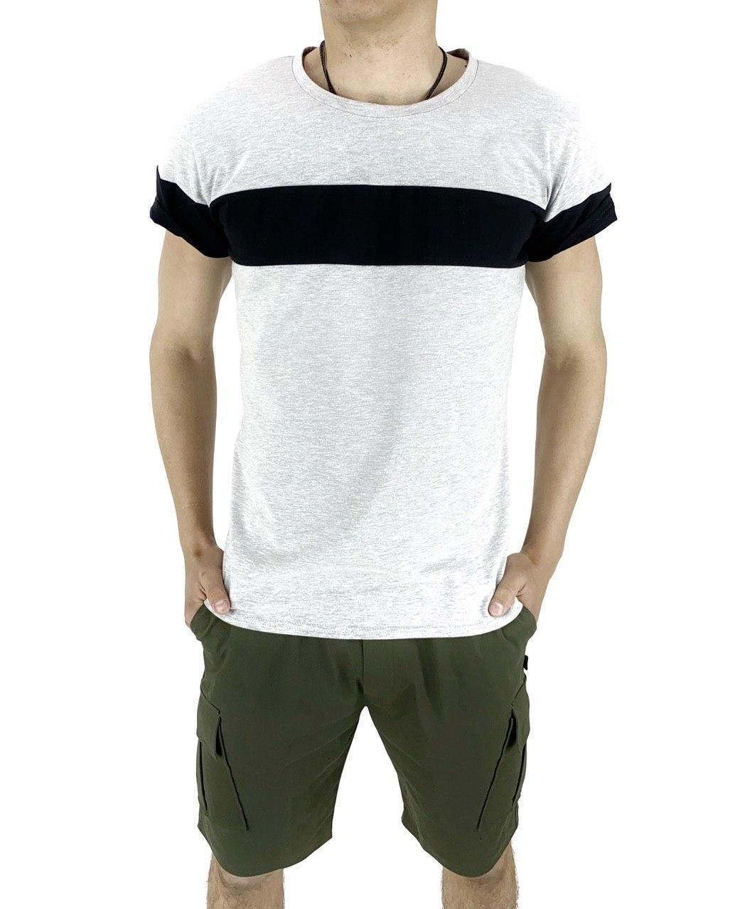 Комплект Футболка Color Stripe серая - черная и Шорты Miami хаки SKL59-259622