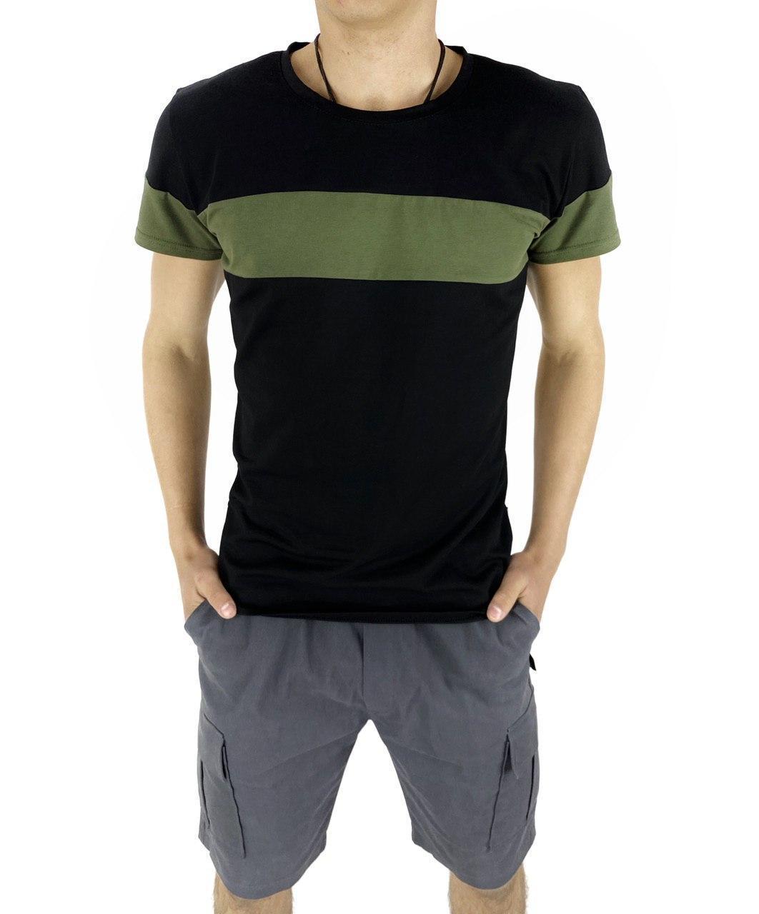 Комплект Футболка Color Stripe чорна - хакі і Шорти Miami сірі SKL59-259625