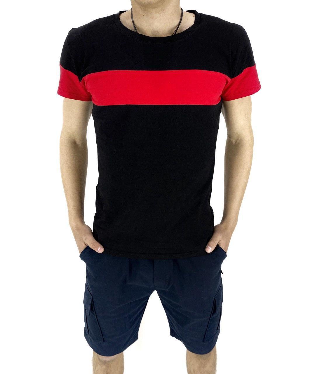 Комплект Футболка Color Stripe чорна - червоний і Шорти Miami сині SKL59-259626
