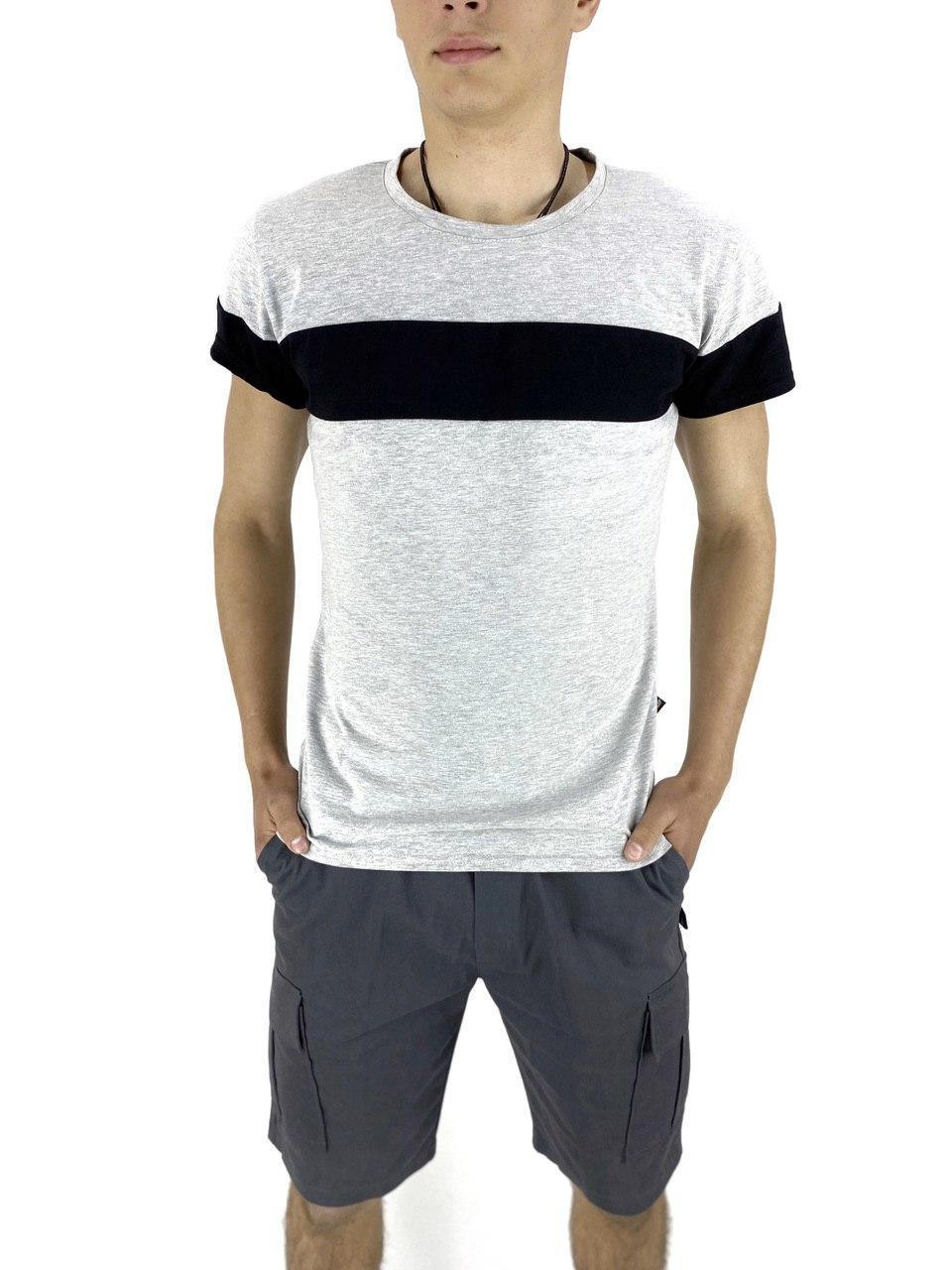 Комплект Футболка Color Stripe сіра - чорна і Шорти Miami сірі SKL59-259627