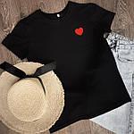 Женская футболка хлопок черная с принтом сердце SKL59-259645, фото 3