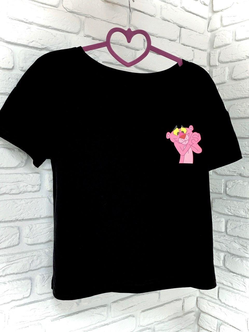 Женская футболка хлопок черная с принтом Pink panther Розовая пантера SKL59-259661