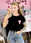 Женская футболка хлопок черная с принтом Pink panther Розовая пантера SKL59-259661, фото 3