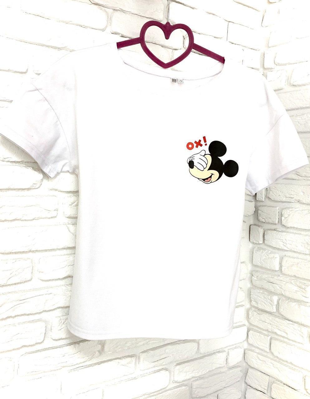 Женская футболка хлопок белая с принтом Mickey Mouse микки маус Ox SKL59-259662