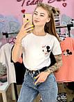 Жіноча футболка бавовна біла з принтом Mickey Mouse міккі маус Ox SKL59-259662, фото 4