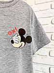 Женская футболка хлопок серая с принтом Mickey Mouse микки маус Ox SKL59-259663, фото 2