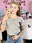Женская футболка хлопок серая с принтом Mickey Mouse микки маус Ox SKL59-259663, фото 4