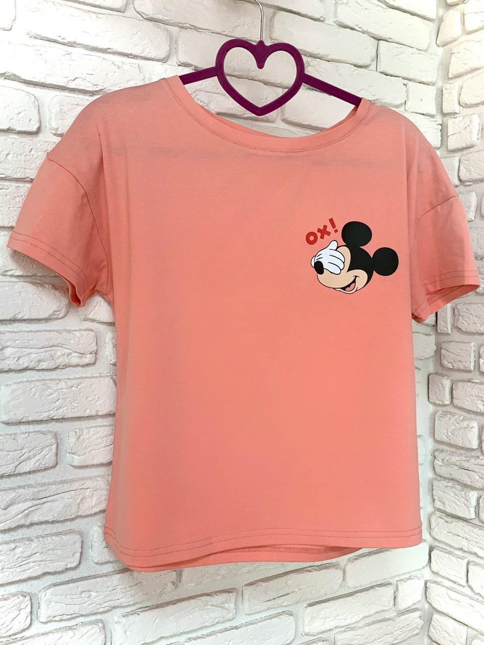 Жіноча футболка бавовна рожева з принтом Mickey Mouse міккі маус Ox SKL59-259667