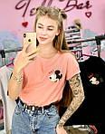 Жіноча футболка бавовна рожева з принтом Mickey Mouse міккі маус Ox SKL59-259667, фото 4