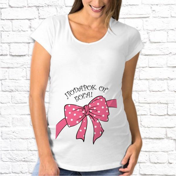 Женская футболка для беременной с принтом Подарок от Бога SKL75-293537