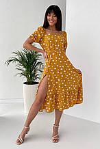 Платье с коротким рукавом софт горчичное с цветочным принтом SKL69-290019