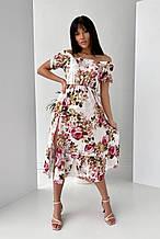 Платье с коротким рукавом софт белое с цветочным принтом SKL69-290021