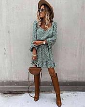 Женское платье в цветочек мята SKL11-290183