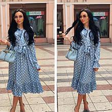 Женское платье софт голубое в горошек SKL11-290236