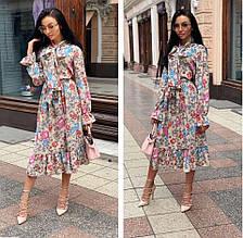 Женское платье софт с голубыми и розовыми цветами SKL11-290239