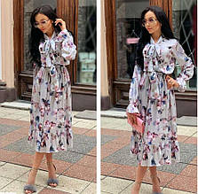 Женское платье софт с розовыми и синими цветами SKL11-290240