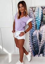 Жіноча блузка софт з батистових прошвой лавандового кольору SKL11-293709