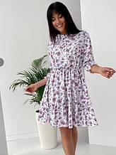 Расклешенное короткое платье софт белое SKL69-290308