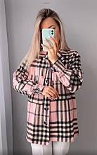 Жіноча сорочка в клітку oversize колір пудра SKL11-290518