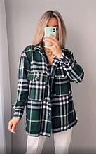 Жіноча сорочка в клітку oversize зелена SKL11-290522
