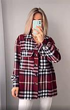 Жіноча сорочка в клітку oversize колір марсала SKL11-290523