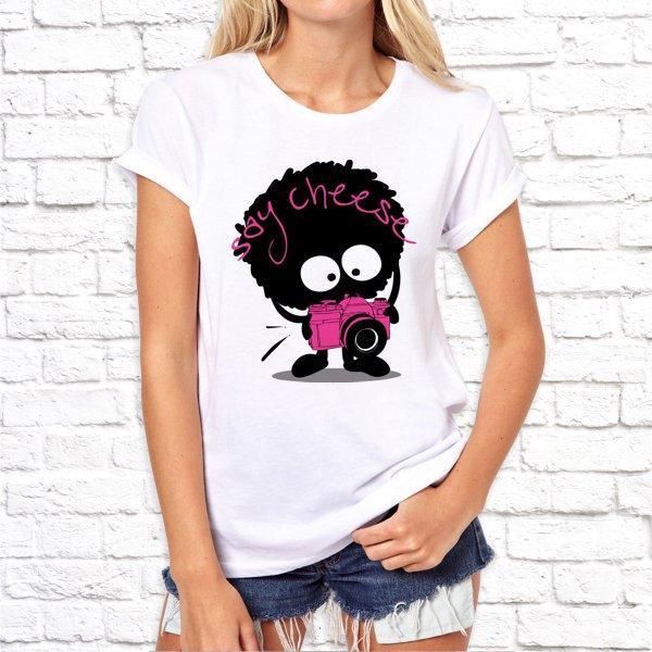 Женская футболка с принтом Say cheese SKL75-292956