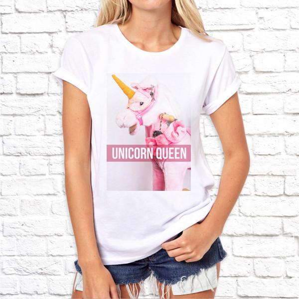 Женская футболка с принтом Unicorn Queen SKL75-293001