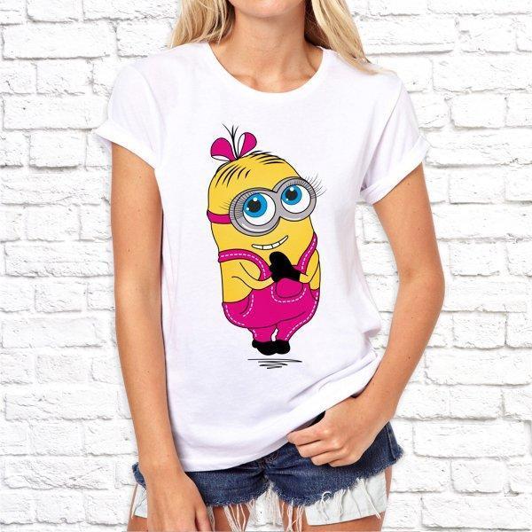 Женская футболка с принтом по мотивам мультфильма Миньоны SKL75-293051